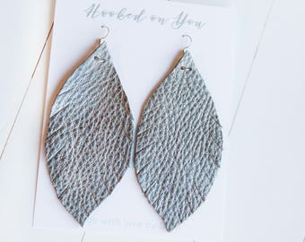 GUNMETAL {SHOWSTOPPER COLLECTION} - Feather Leather Statement Earrings