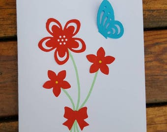Handmade cards, Pack of 4 blank cards with flowers and a butterfly. Handmade birthday card design.
