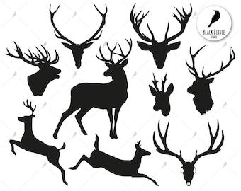 Deer svg, deer clipart, reindeer  svg, antlers svg, buck svg, skull hunting svg, cricut silhouette – eps, dxf, png, pdf, svg – digital files