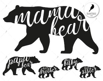 Mama bear svg, mama bear clipart, family svg, family clipart papa baby bear svg, cricut silhouette – eps, dxf, png, pdf, svg – digital files