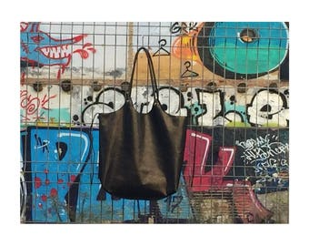 """Tote bag """"City"""" black leather"""