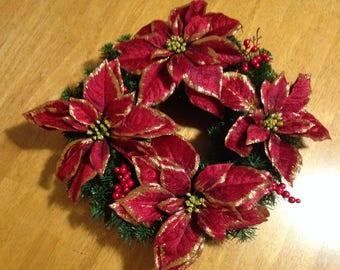 """18"""" Christmas Poinsettia Wreath"""