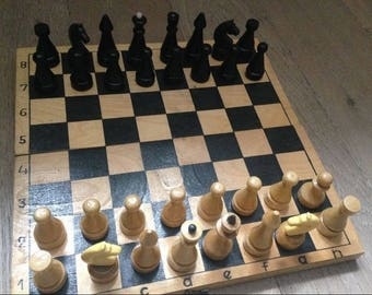 old chess set wooden chess set vintage chess retro chess soviet chess ussr chess wood chess