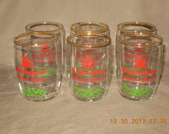 Anheuser Busch Budweiser vintage small beer glasses set of 6 Red and Green with Logo