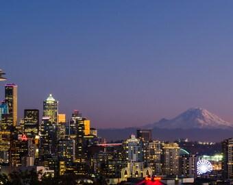Seattle and Mount Rainier in Autumn, 2017.