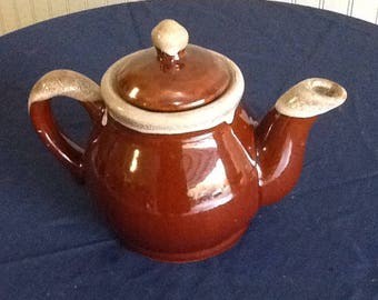 Rust-Colored Ceramic Tea Kettle