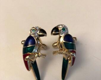 Vintage Parrot Cufflinks vintage parrot cufflinks