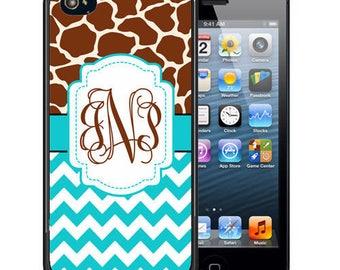Monogrammed Rubber Case For iPhone X, 8, 8 plus, 7, 7 plus, 6s, 6s plus, 5, 5s, 5c, SE -  Giraffe Blue Chevron
