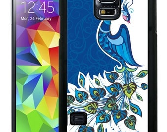 Personalize Rubber Case For Samsung Note 3, Note 4, Note 5, or Note 8- Blue Peacock