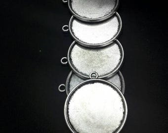 5 Bases for silver-coloured cameo 25 mm