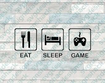 Eat Sleep Game SVG, DXF, EPS, Studio 3, Png