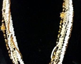 Elegant multi strand beaded necklace