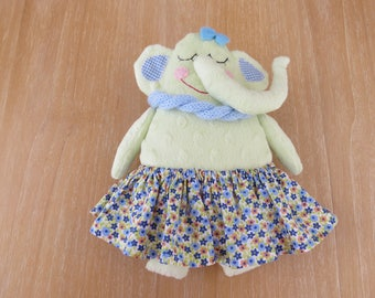 Evelyn the elephant,soft toy,unique toy,gift for kids,plush toy,handmade doll,baby shower gift,birthday gift,cuddle toy,fabric toy