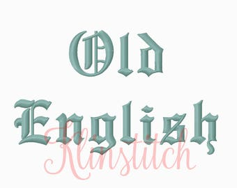 50% Sale!! Old English Embroidery Fonts 2 Sizes Fonts BX Fonts Embroidery Designs PES Fonts Alphabets - Instant Download