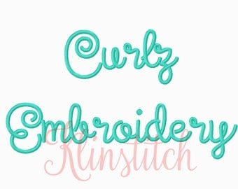 50% Sale!! Curlz Embroidery Fonts 5 Sizes Fonts BX Fonts Embroidery Designs PES Fonts Alphabets - Instant Download