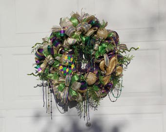 Mardi Gras Wreath, Fat Tuesday Wreath, Mardi Gras Fleur De Lis Wreath, Mardi Gras Wreath With Beads