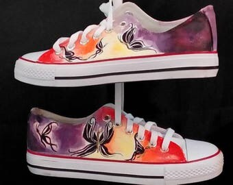 Butterflies, hand painted shoes,customised converse style trainers