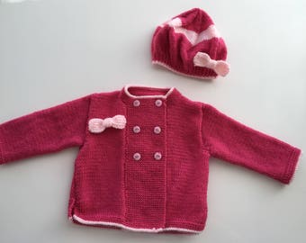 Knitted 'Maddie' cardigan and matching Beret 9-12 Months