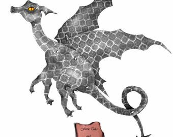 Grey Dragon, gray dragon, paper doll, fairy doll, art doll, digital Download, articulated, posable, paper dragon