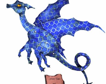 Midnight Blue Dragon, Digital Download, art doll, paper doll, fairy doll, paper dragon, navy, articulated, posable, dark blue