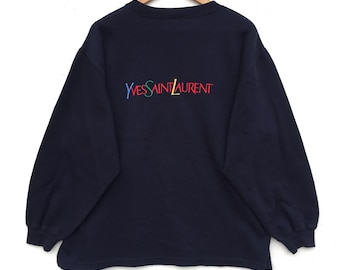 Yves Saint Laurent ysl sweatshirt/sweater/jacket Big Logo multicolour Embroidery Sweat Medium Size Jumper Pullover Shirt Vintage 90's