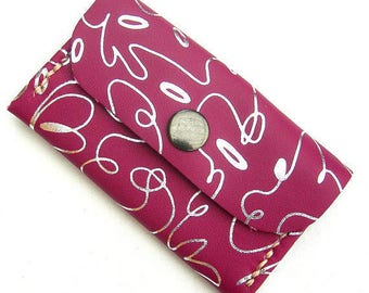 Pink leather coin purse. Leather coin pouch