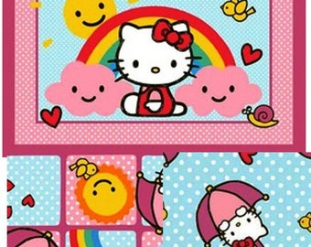 Rain Or Shine Licensed Hello Kitty  Cotton Fabric By The Yard