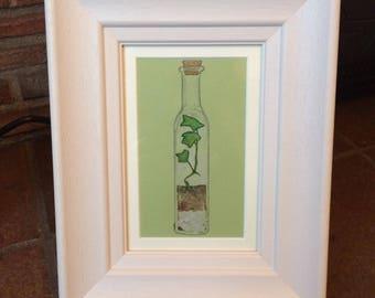 Framed Original Watercolour Painting | Glass Bottle Terrarium