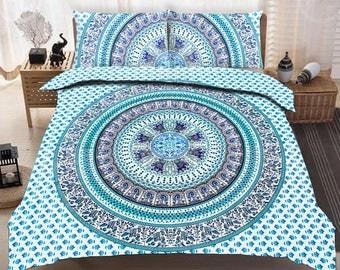 Boho Queen Size Mandala Bedding Duvet Doona Set - Green Paradise