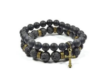 Onyx and Lava Rock Cross Bracelet Set