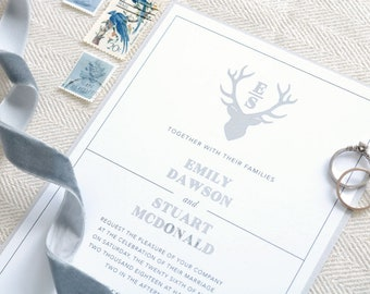Foil Stag Wedding Invitation - Scottish Wedding Invitation - Highland Wedding Invitation