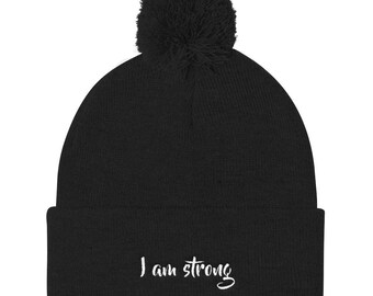 I am strong Pom Pom Knit Cap