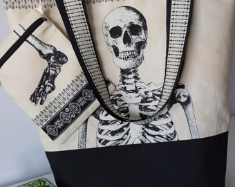 Tote Bag human skeleton with black base.