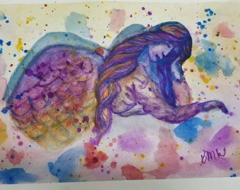 "DOCTOR WHO INSPIRED - Watercolor painting - 9 x 6 - ""Weeping Angel"""