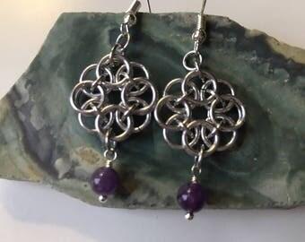 Chainmaille Amethyst Earrings