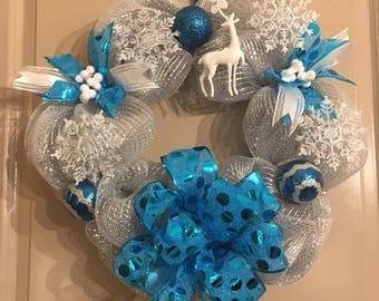 Silver and Teal Wreath