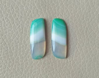 Beautiful Green Natural Botswana Agate Matching Pair Gemstone, 21 Carat Designer Cabochon Gemstone, Beautiful Jewelry Pair Earring Gemstone.