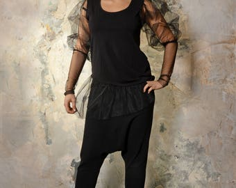 Women's Tunic/Elegant Black tunic with tulle / Extravagant Tunic with tulle/ Exquisite Blouse/Tunic for women/Tunic top-0055