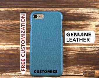 iPhone 7 Leather Case, iPhone 7 Case, iPhone 7 Cover, Genuine Leather iPhone 7 Case, iPhone 7 Sleeve, iPhone Case, Customized Case, Blue