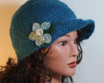 Blue wool  baseball cap style with flower