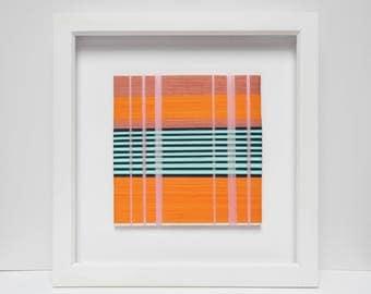 Abstract Wall Art, Orange & Mint Green  36 x 36cm