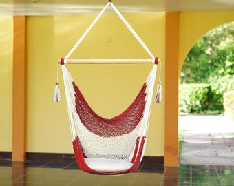 Red And White Hammock Chair Handmade In Nicaragua