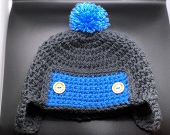Handmade Crochet Baby Boy Aviator Earflap Button Hat with Pom Pom