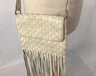 Boho Designer Vintage  DKNY Donna Karen New York Woven Cream Messenger Shoulder Bag