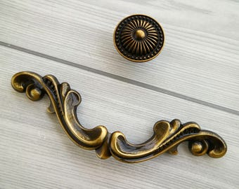 "3.75"" Antique brass drawer handle pull polished dresser pull wardrobe handle kitchen cabinet door knob decorative furniture handle pull 96mm"