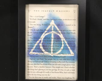 Deathly Hallows, Harry Potter, Wizard, Magic, The Three Brothers, Symbol, Book Art, Wall Art, Dumbledore