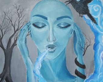 On My Mind, ORIGINAL painting of Beautiful, mysterious woman, surrealism, dark.
