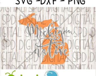 Michigan, Native, State, DXF, PNG, SVG, files for Silhouette and Cricut