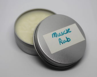 2oz Muscle Rub, Muscle Relief, All-Natural, Essential Oils, Coconut Oil, Beeswax