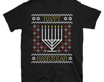 Happy Hanukkah Funny Ugly T Shirt for Men & Women Short-Sleeve